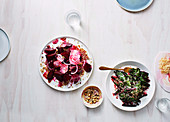 Beetroot salad with barley and hazelnut, stir-fried beetroot leaves with coconut and spices
