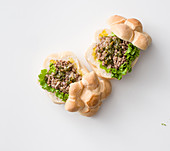 Rolls with fried minced beef and salsa verde
