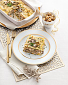 Lasagne with salmon and porcini mushrooms