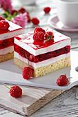Raspberries cake with vanilla cream and jelly