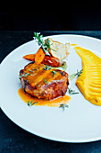 Filet mignon and carrot puree