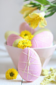 Pastel coloured meringue biscuits for Easter