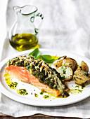 Lachsfilet mit Pecorino-Pesto-Kruste und Olivenöl