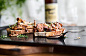 Mushroom toast with pork and dill butter