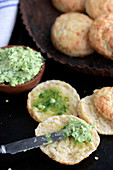 Warm cheese scones with chive butter