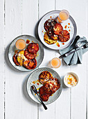 Bruleed pancakes with ruby grapefruit