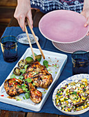 Asian cider chicken with corn salad