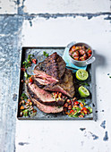 Salt and pepper rump steak with pico de gallo