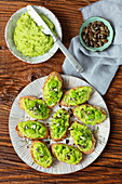 Bruschetta with broadbean hummus