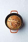 Honey-beer bread baked in a pot