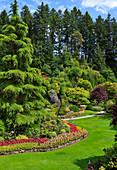Hanggarten mit Koniferen und Sommerblumen