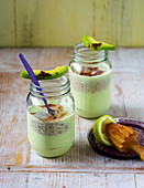 Avocado and chocolate milkshake with bananas