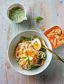 Vegetable spirelli with a herb and soya cream