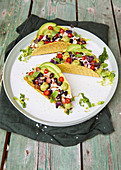 Black bean tacos with mole chicken
