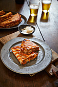 BBQ quesadillas with pork, beans and corn