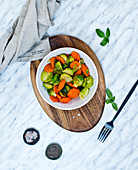 Caramelized Brussels sprouts with carrots