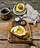 Breakfast toast with avocado and egg