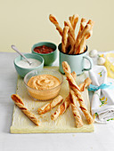 Cheese Straws with dip