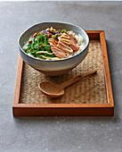 Salmon shabu-shabu with oriental red cabbage coleslaw and wakame