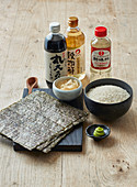 Sushi ingredients – rice, rice vinegar, nori, pickled ginger, wasabi