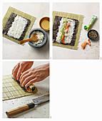 Maki mit Garnelen, Gurke und schwarzem Sesam zubereiten