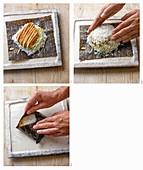Tonkatsu-Schnitzel mit Krautsalat und Mayonnaise zubereiten