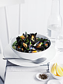 Mussels in a white wine broth