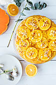 Pumpkin and oranges tarton white table