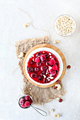 Cherry and Cottage Cheesecake with granola base