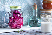 Jar of pickled purple onion