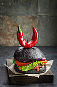 Purgatory burger with pepper in the shape of horns