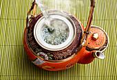 Green tea being brewed