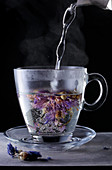 Cornflower tea being brewed
