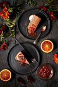 Slices of Chocolate Mousse Cake with Blood Orange Compote