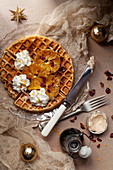 Waffle with Charred Oranges and Cream