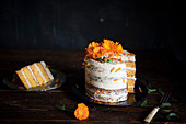 Carrot Cake Decorated with Calendulas