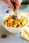 Saffron couscous with fall vegetables