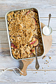 Apple crumble with a hazelnut topping