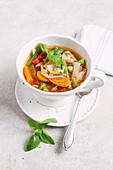 Mediterranean-style vegan cabbage soup