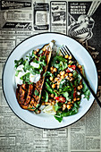 Oven-baked aubergine with a chickpea salad and mint yoghurt