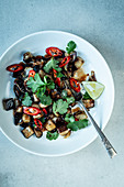 Aubergine salad with coriander and chilli
