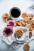 Vegan biscuits made in a waffle iron