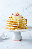 Lemon curd and cream cake