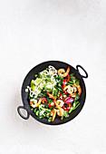 Lime and chilli prawn stir-fry
