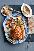 Turkey with rice, salsiccia, and cranberry filling, and roast radicchio and pears