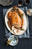 Roast turkey with chicken liver filling and grapefruit-lime gremolata