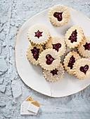Pecan cookies with raspberry jam