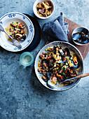Mussels with borlotti, tomato and pangrattato