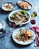 Warm salad with lentils, quinoa and labneh