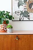 Retro Sekretär, restauriert mit rosa Ablagefläche, darauf Zimmerpflanzen
